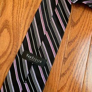 Van Heusen Accessories - VanHuesen Men's Black and Purple Stripe Tie